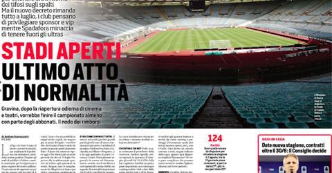 Corriere dello sport: Stadi aperti, ultimo atto di normalità   Udinese Blog
