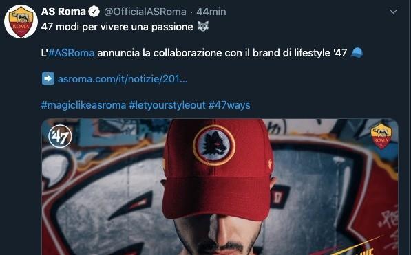 Roma, nuovo accordo con il brand statunitense di lifestyle '47