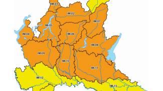 Mappa dell'allerta in Lombardia dal sito della Protezione Civile lombarda