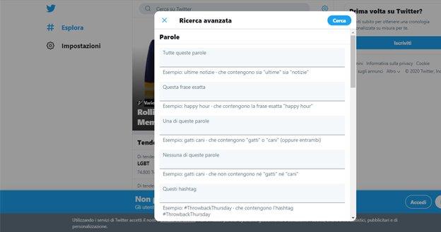 ricerca su twitter