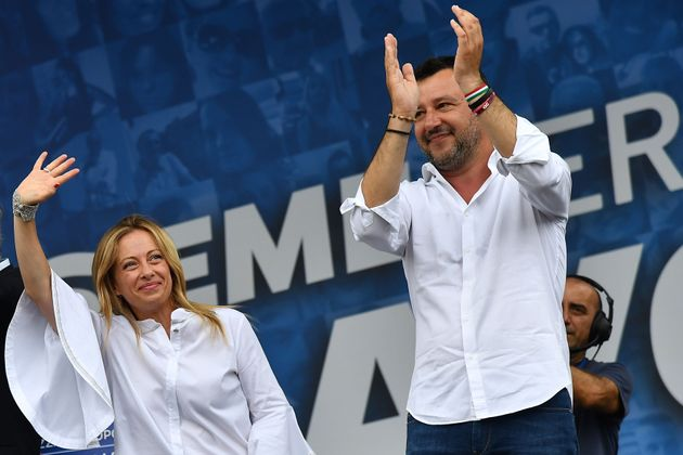 Head of the League party Matteo Salvini (R) and head of the Brothers of Italy (FdI) party, Giorgia Meloni...