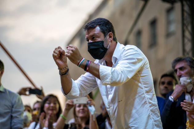 NAPOLI, CAMPANIA / NAPOLI, ITALY - 2020/09/12: Matteo Salvini among supporters and social centers protest...