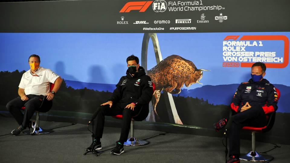F1, GP Austria 2020: Zak Brown (McLaren), Toto Wolff (Mercedes) e Chris Horner (Red Bull)