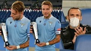 Lazio, Immobile premiato all'Olimpico. E Muriqi applaude dalla tribuna