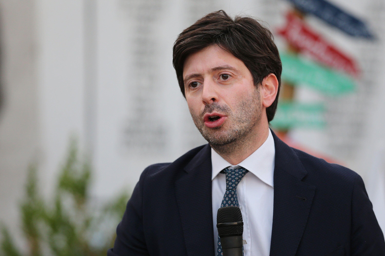 CASAL DI PRINCIPE, ITALY - 2020/07/04: The Italian Minister of Health, Roberto Speranza, speaks at the...