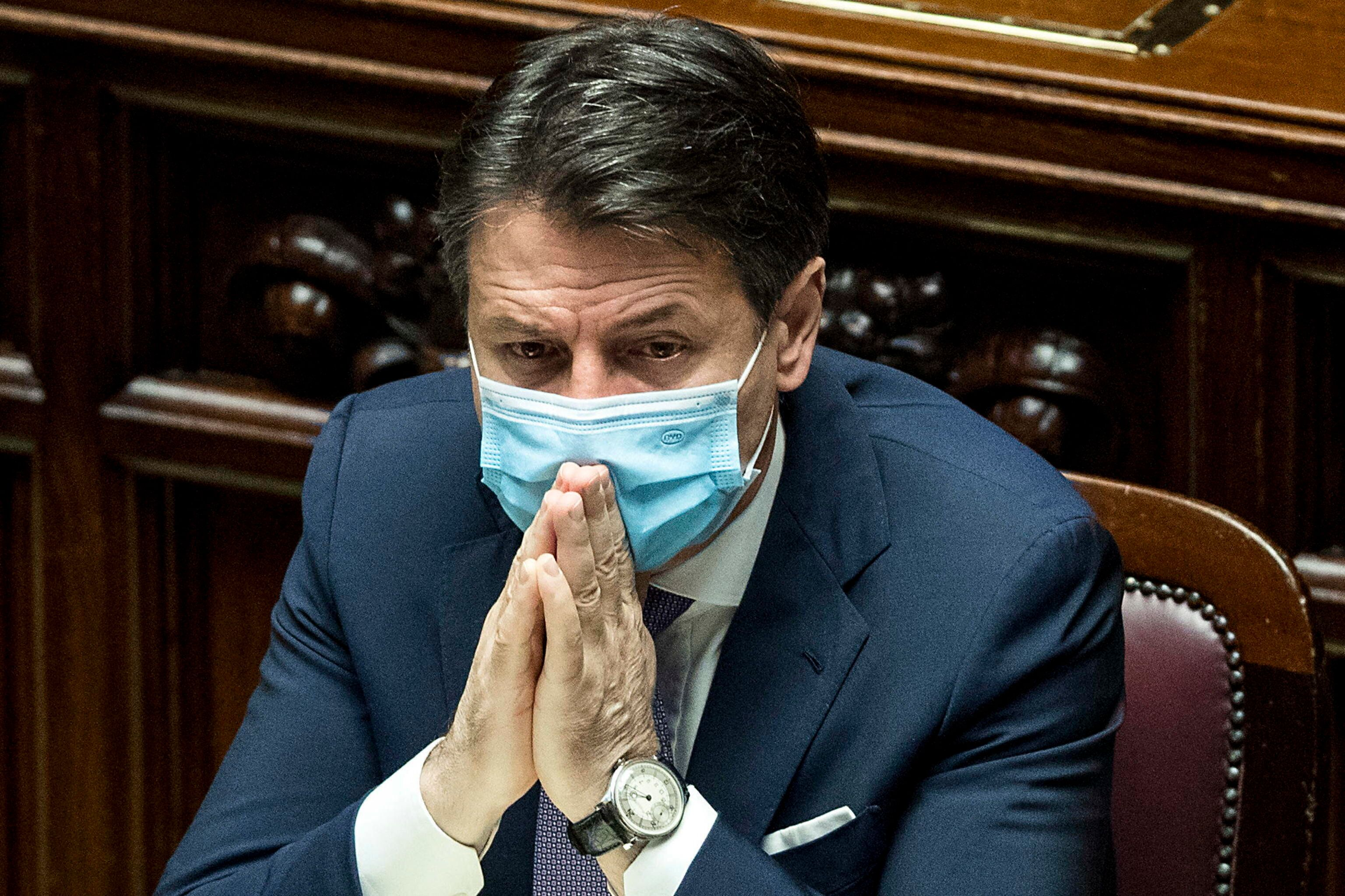 epa08764360 Italian Prime Minister Giuseppe Conte delivers a speech at the Lower House about the initiatives...