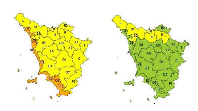 A sinistra le zone interessate dal vento, a destra (in giallo) dalla neve