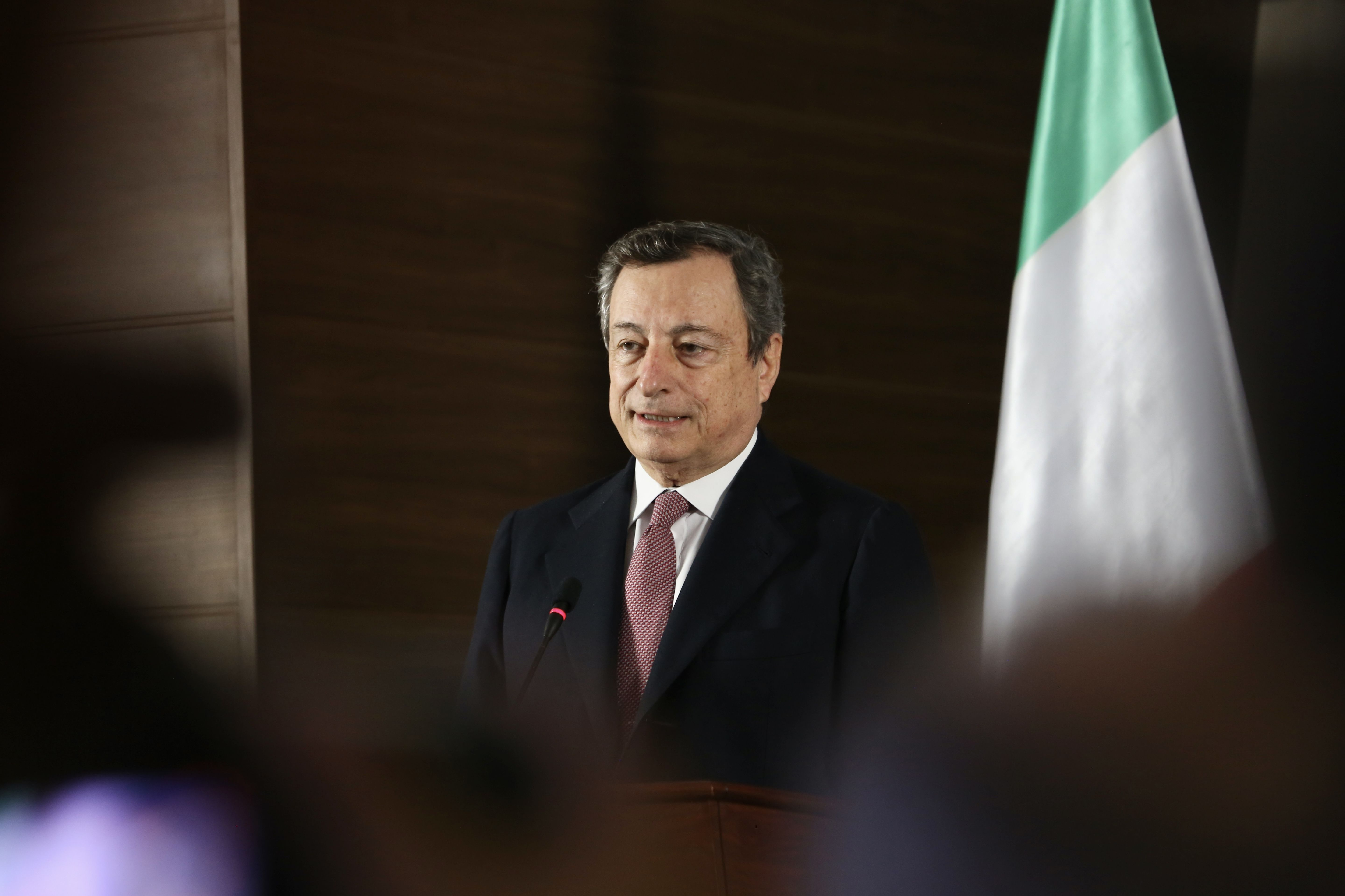TRIPOLI, LIBYA - APRIL 06: Italy's Prime Minister Mario Draghi and Libyan Government of National Unity...