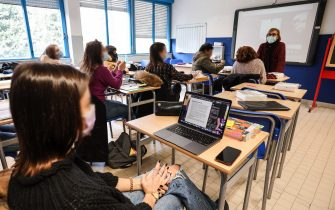 Foto Pietro Masini / LaPresse 11-01-2021 Firenze, Italia Cronaca La Toscana riapre alla didattica in presenza al 50% per le scuole superiori.Nella foto: lezioni in presenza all'Istituto Tecnico Marco Polo Photo Pietro Masini / LaPresse January 11, 2020 Florence, ItalyNewsToscana's high school students return to classroom