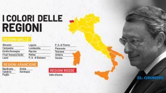 La mappa dell'Italia in base ai colori delle regioni