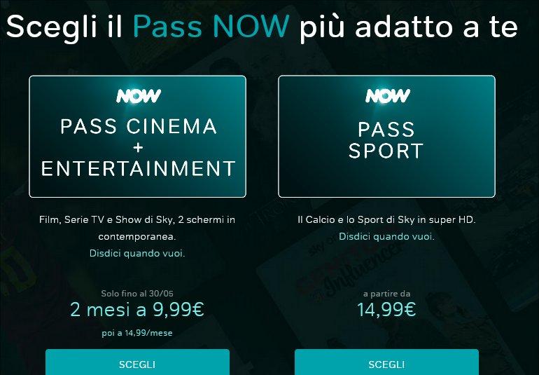 NOW TV, Pass Cinema e Entertainment per i primi 2 mesi a 9,99€