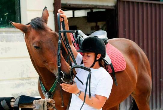 Una giovane sportiva con il suo cavallo