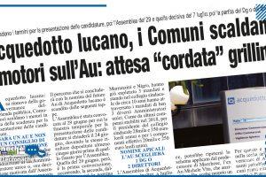 """ACQUEDOTTO LUCANO, I COMUNI SCALDANO I MOTORI SULL'AU: ATTESA """"CORDATA"""" GRILLINA"""