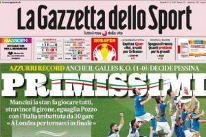 """L'apertura de La Gazzetta dello Sport sull'Italia: """"Primissimi"""""""