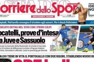 """L'apertura del Corriere dello Sport: """"CR7 bellezze"""". Ronaldo porta il Portogallo agli ottavi"""