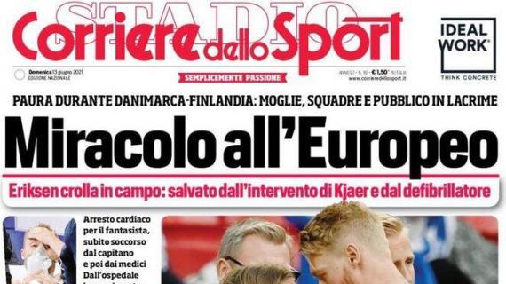 """L'apertura del Corriere dello Sport su Eriksen: """"Miracolo all'Europeo"""""""