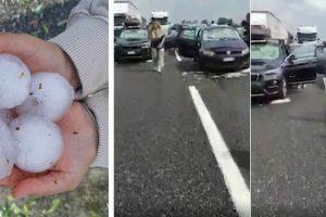 Grandinata eccezionale sull'A1, auto distrutte all'altezza di Fidenza