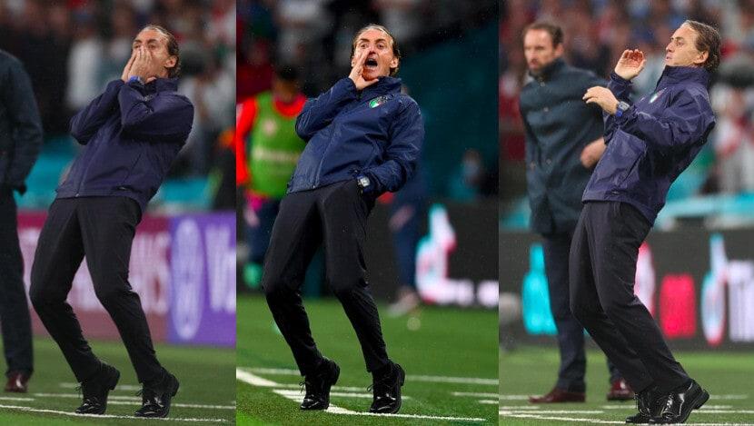 Italia-Inghilterra, Mancini scatenato in panchina
