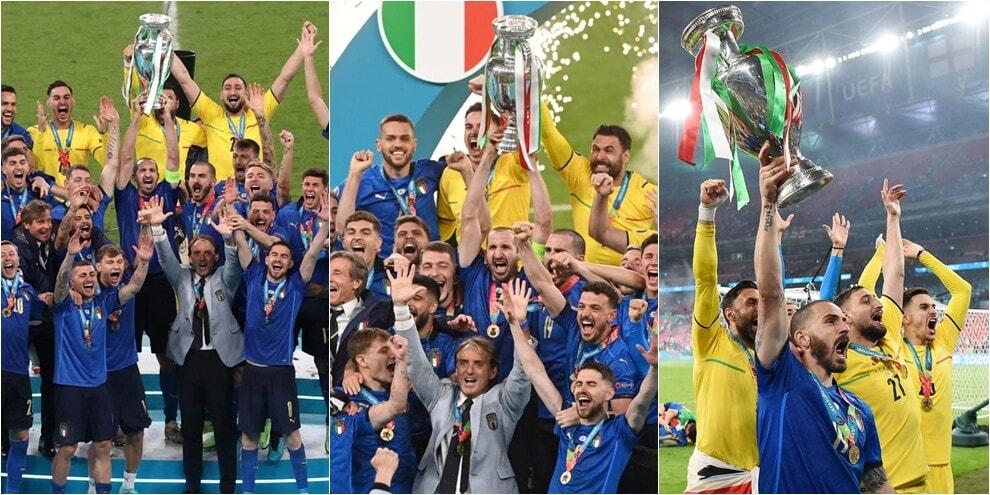 L'Italia alza la coppa: la premiazione dopo la vittoria di Euro 2020