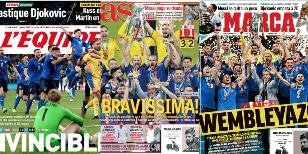 """""""La felicità"""", """"Wembleyazo"""", """"Eterna Italia"""". La stampa estera esalta gli azzurri"""