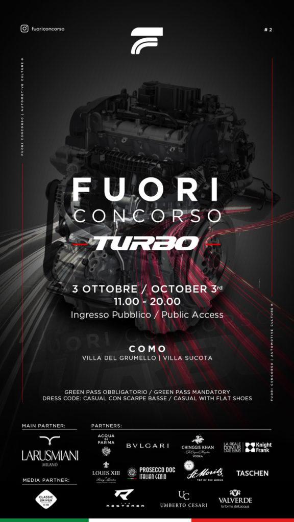 Fuori Concorso Turbo, appuntamento per gli appassionati di motori dal 2 al 3 ottobre a Como date evento quando dove auto macchine