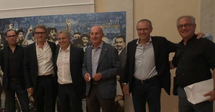Da sinistra, Davide Cassani, Gian Paolo Montali, Andrea Di Caro, Arrigo Sacchi, Stefano Domenicali e Julio velasco (Corelli)