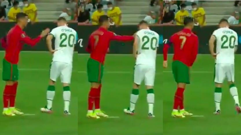 Ronaldo, la manata a O'Shea prima del rigore