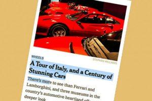 Grantour Italia motori, per NYT tappe Alfa, Mauto e Pirelli